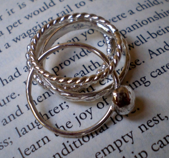 Simply Silver Rustic Organic Pebble Infinity Stacking Rings - Set of 4