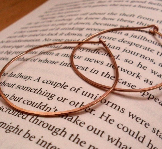 Simple Rustic Organic Rose Gold Filled Whisper Thin Everyday Hoops - Medium Size