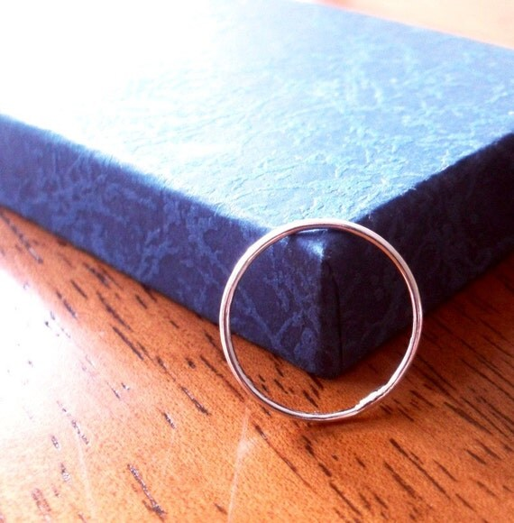One Simply Skinny Rustic Organic Sterling Silver Stacking Ring