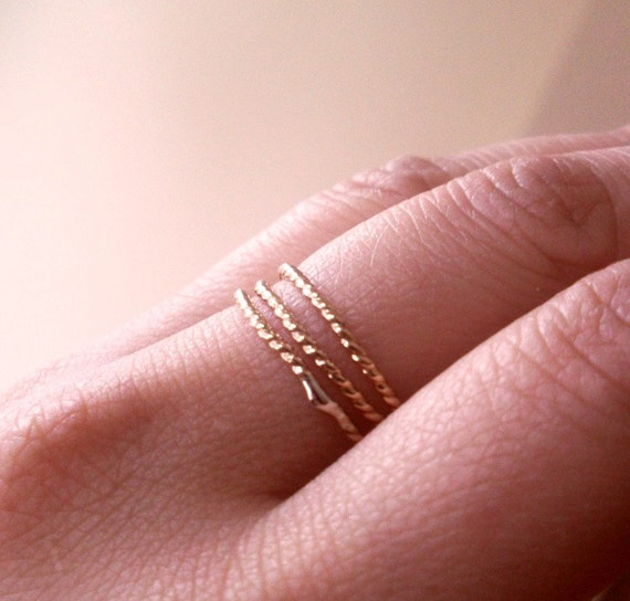 Simply Skinny Stacked Twisted 14K Gold Filled Stacking Bands - Set of Three