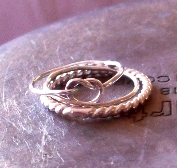 Knotted Up in You Rustic Knot and Sterling Ring Stack - Set of Three