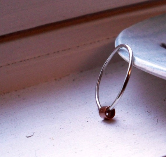 One Simply Skinny Spinnerette Rustic Organic Sterling Silver and Copper Stacking Ring