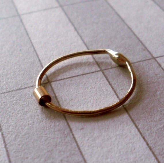 One Simply Skinny Spinnerette Rustic Organic 14K Gold Filled Stacking Ring