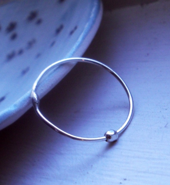 One Simply Skinny Spinnerette Rustic Organic Sterling Silver Stacking Ring