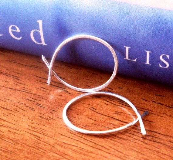 Simple Rustic Organic Open Ended Whisper Thin Hoops - SMALL Size