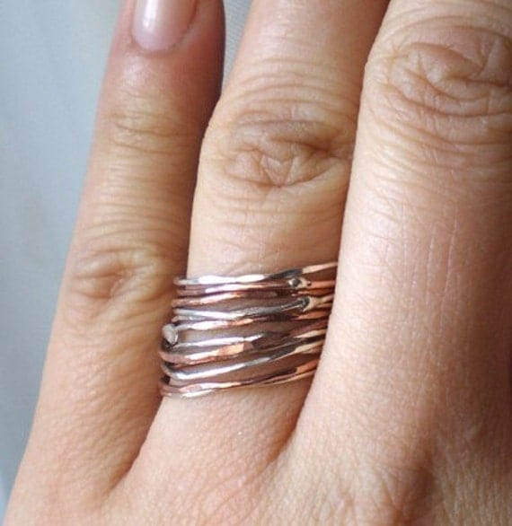 Simply Skinny Sterling Silver and Copper Stacking Rings - Set of 14