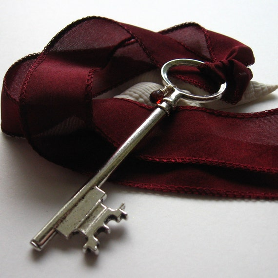 Skeleton Key Necklace - Garnet Red CZ and Silk Ribbon
