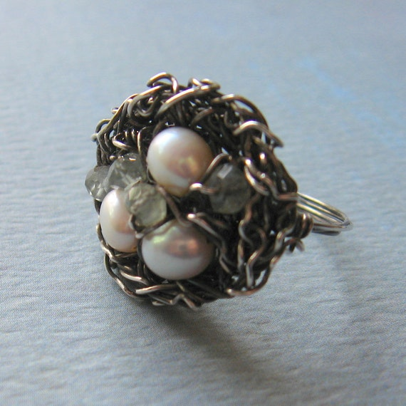 Bird Nest Ring Oxidized Sterling Silver Freshwater Pearls Aquamarine