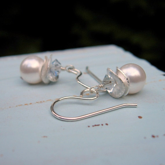 Pearl Earrings, Swarovski White Pearls, Blue Crystals, Sterling Silver Earwires