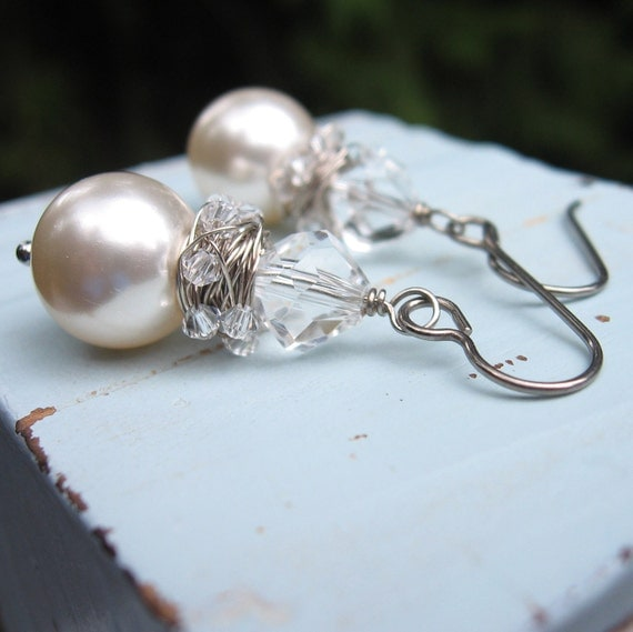 Pearl Earrings, Crystal, Wild Wire Wrapped, Niobium Ear Wires, Hypoallergenic
