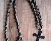 28 Inch Hemp Necklace with Metal Cross Pendant and Black Thread Weave