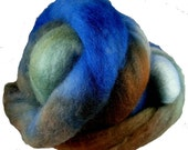 Hand Dyed Corriedale Wool Roving, 'Forest' Colorway, Green, Blue, Brown, for Spinning or Felting, 8 oz.