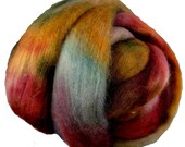 Hand Dyed Corriedale Wool Roving, Red, Rush, Teal, for Spinning or Felting, 16 oz.