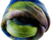 Hand Dyed Corriedale Wool Roving, Blue, Lime Green, Brown, for Spinning or Felting, 8 oz.