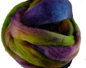 reserved listing for blsck sheep cottage AK.  Dyed Corriedale Wool Roving,Purple, Green, Turquoise for Spinning or Felting, 4 oz.
