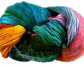 HAnd Dyed Artisan Yarn, Carnival Colorway, Mohair, Nylon, Wool, Silk