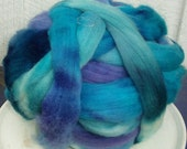 Hand Dyed Corriedale Wool Roving in blues/purples Colors, hand dyed for spinning and felting fun, Crocus, 16 oz.