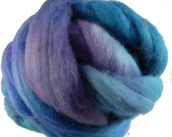 Hand Dyed Merino Wool Roving, 'Crocus' Colorway, Blue, Green, for Spinning or Felting