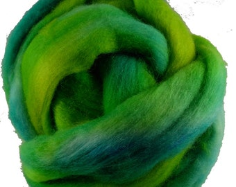 Hand Dyed Corriedale Wool Roving in Turquoise and Lime Green, hand dyed for spinning and felting fun, 4 oz.