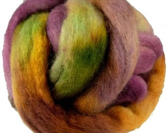 Hand Dyed Corriedale Wool Roving, Burgundy, Green, Rust for Spinning or Felting, 4 oz.