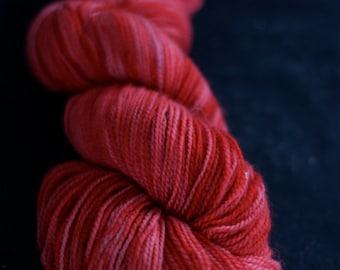 Hand Dyed Yarn, Superwash Merino Wool Sock Yarn, Red, 'Read All Over'