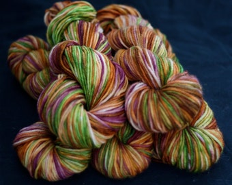 Sock Yarn, Hand Dyed, Superwash Merino Wool, 'Day at the Vineyard', Burgundy, Burnt Orange, Lime Green, for knitting
