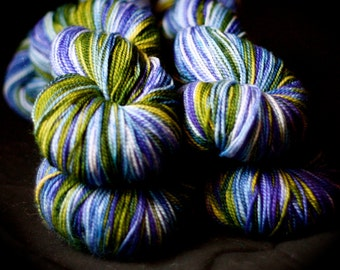 Sock Yarn, Hand Dyed, Superwash Merino Wool, 'Rainy Day Cheer', Purples & Greens, for knitting