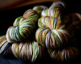 Sock Yarn, Hand Dyed, Superwash Merino Wool, 'Walk in the Woods, Browns, Greys,  Greens, for knitting