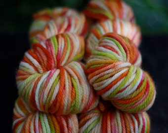 Hand painted Superwash Yarn, 'Sherbet' colorway, orange, fuscia, lime green