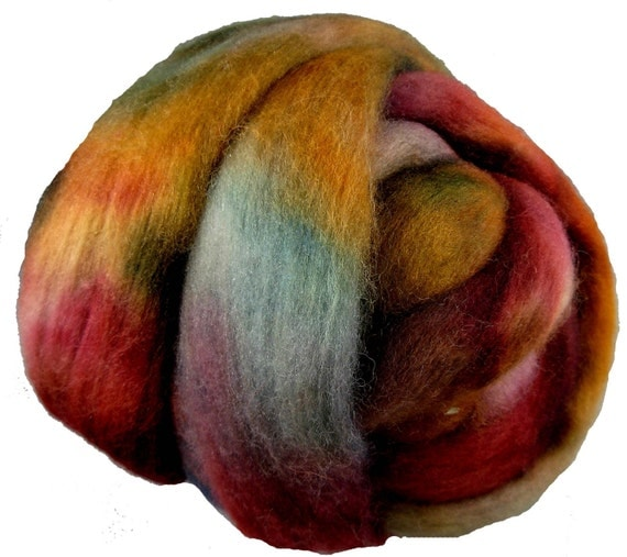 Hand Dyed Corriedale Wool Roving, Red, Rush, Teal, for Spinning or Felting, 4oz.