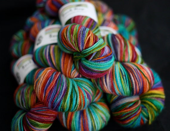 Hand Dyed Yarn : Hand Dyed Yarn, Superwash Merino Wool Sock Yarn, Rainbow Colored, A ...