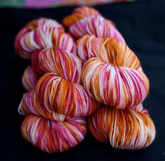 Sock Yarn, Hand Dyed, Superwash Merino Wool, 'Sizzle', Hot Pink, Fuscia, Orange, for knitting