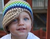 PDF Pattern for Crocheted Tan Newsboy Hat (Sizes newborn, 0-3m, 3-6m, 6-9m, 9-12m and 12-24m) Instant Dowload