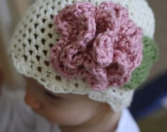 PDF Crochet Pattern for Cream Baby Hat with Pink Accent flower (Sizes: Newborn, 0-3m, 3-6m, 6-9m, 9-12m & 12-24m) Instant Download