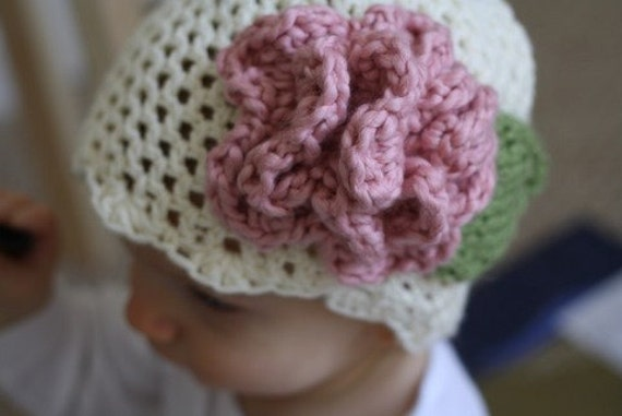 Crochet Pattern for Cream Hat with Pink Accent flower PDF Size Child to Adult (7) Instant Download