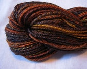 Pumpkin Juice, handspun merino and seacell yarn, 244 yds