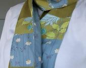 Linen Scarf - Olive Italian linen, Japanese blue floral, olive Amy Butler floral