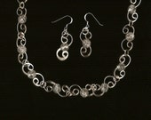 Silver S link necklace and earrings with crystal Czech crackle glass