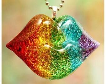 Rainbow Kiss - Resin Lips Necklace