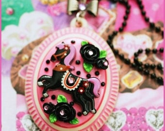 Midnight Pony Ride - Cameo Necklace (pink)