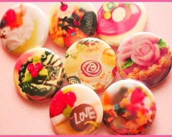 Cake and Ice-Cream - 1.25 inch Pinback Buttons (8)
