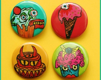 Mutant Sweets Pack - (4) 1.25 inch Pinback Buttons