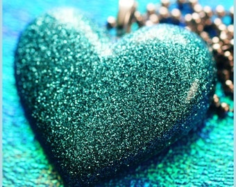 Mermaid Heart - Blue Glitter Resin Necklace