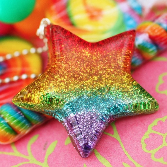 Rainbow Bright - Resin Star Necklace