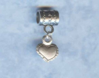 Sterling Silver Textured Heart Lrg Hole Bead Fits All European Styles of  Add a Bead Charm Bracelet Jewelry AAB-TH
