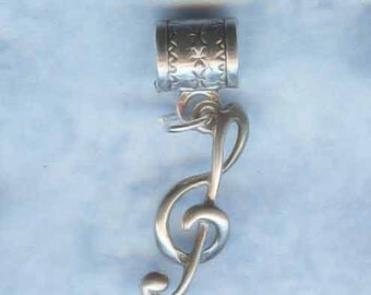 Sterling Silver Musical Clef Note Lrg Hole Bead Fits All European Styles of  Add a Bead Charm Bracelet Jewelry AAB-CLEF