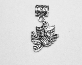 Silver Flying Owl Hole Bead Fits All European, all Add a Bead Charm Bracelet Jewelry AAB-Anm082