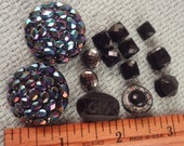 FREE SHIPPING- 14 Black Glass Shank Buttons