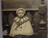FREE SHIPPING- Tintype ( Darling little girl wearing a cloak coat with matching hat and big fur collar
