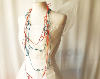 LUP - orange and peacock blue-2 necklaces